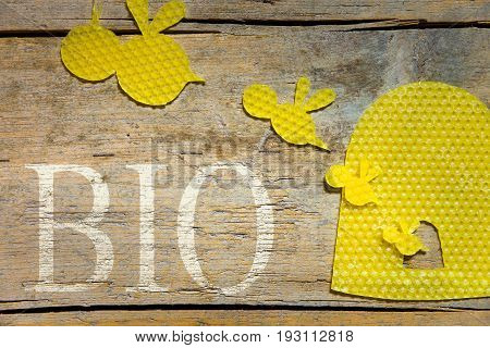 Beeswax, Bees And A Beehive On Wooden Table, Bio