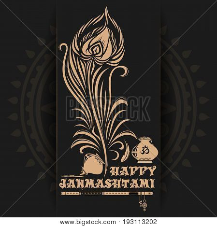 Krishna Janmashtami logo design on black background. Greeting card for celebration of the birth of the Hindu deity Krishna. Vector illustration