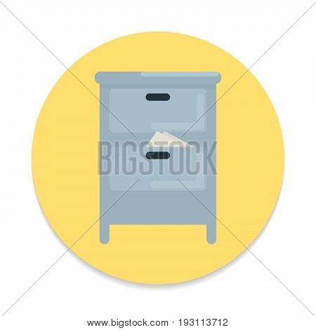 Documents cabinet flat icon. Round colorful button Archive circular vector sign. Flat style design