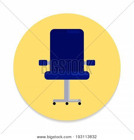 Executive seat flat icon. Round colorful button Office chair circular vector sign. Flat style design
