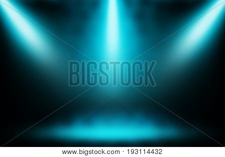 Blue spotlight stage show background Concpt entertainment.