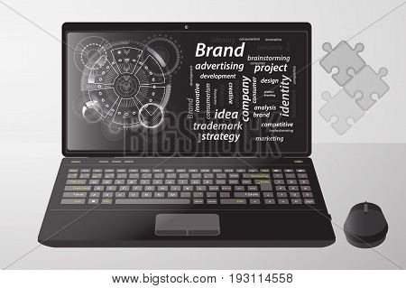 Brand Concept. Inscriptions With A Techno Circle