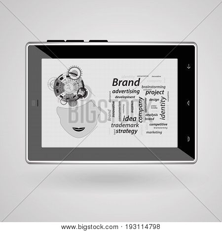 Brand Concept. Inscriptions On A Gray
