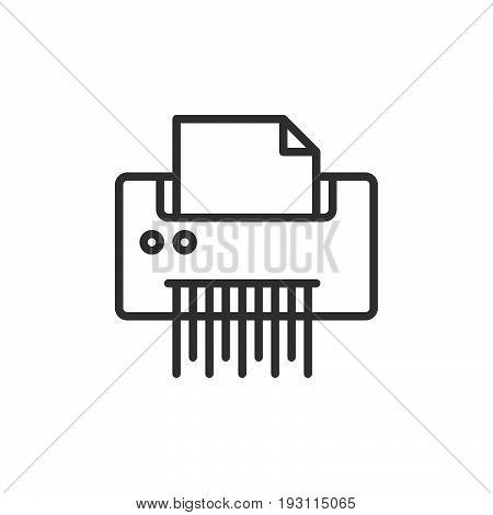 Paper documents shredder line icon outline vector sign linear style pictogram isolated on white. Symbol logo illustration. Editable stroke. Pixel perfect graphics
