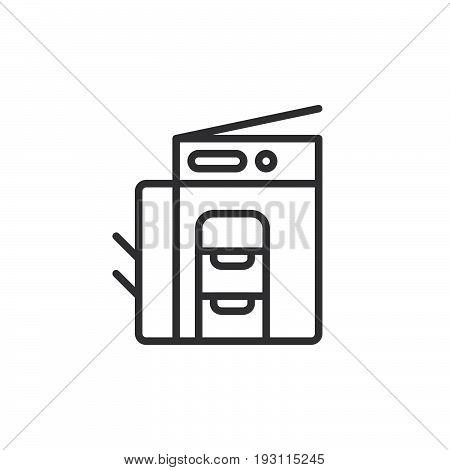Copy machine line icon outline vector sign linear style pictogram isolated on white. Copier symbol logo illustration. Editable stroke. Pixel perfect graphics