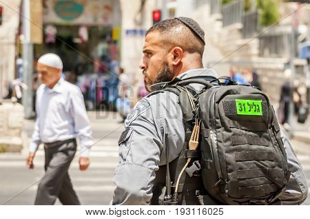 JERUSALEM, ISRAEL. June 20, 2017. Israel border police guard in the Old city of Jerusalem by the Damascus gate, the place of the recent terror attack. Israeli Palestinian conflict stock image