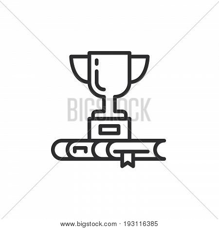 Trophy cup and book line icon outline vector sign linear style pictogram isolated on white. Best seller symbol logo illustration. Editable stroke. Pixel perfect graphics