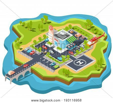 isometric illustration of a modern Italian fast food restaurant with parking and helipad. Isometric pizzeria with a giant pizza sign, Italian cuisine