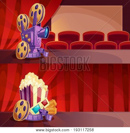 Set of cartoon banners with a cinema hall, screen and red curtains. Two templates for advertising posters to the films premiere