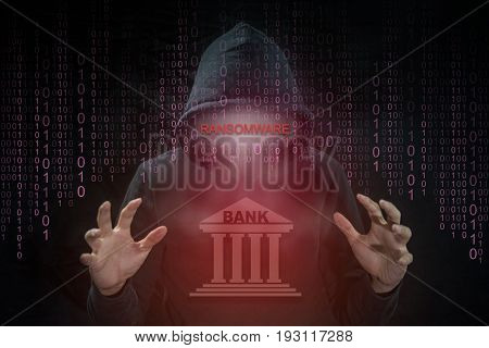 Hacker using Petrwrap or Petya ransomware for hijack computer system of bank around the world. ransomware cyber attack and internet security concepts.