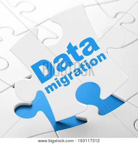 Information concept: Data Migration on White puzzle pieces background, 3D rendering