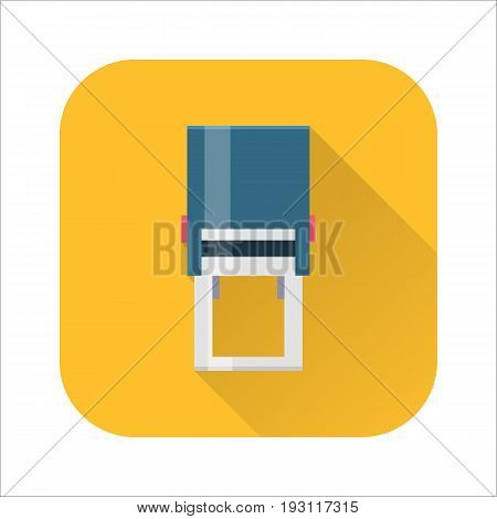 Flat stamper icon, self inking corporate and company automatic seal. Office hand shtamper. Vector cartoon illustration isolated on white background. Business concept