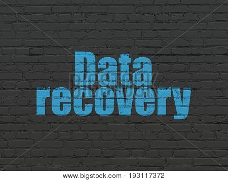 Data concept: Painted blue text Data Recovery on Black Brick wall background