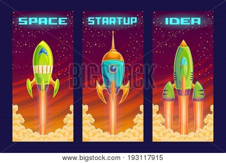 cartoon illustration of the startup concept of business project, the launch of a new investment project. Illustration of a take-off rocket