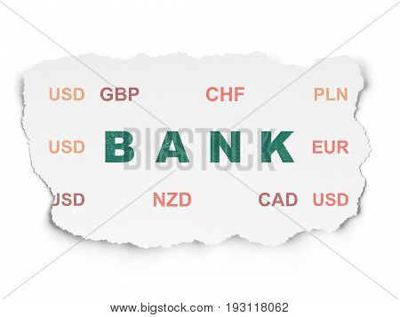 Currency concept: Painted green text Bank on Torn Paper background with  Currency