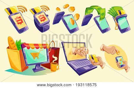 cartoon illustration devices for e-payments. Icons of mobile phones, laptop, wristwatches showing the ease and convenience of online payments