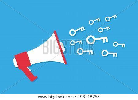 Megaphone and keys cartoon style, marketing concept, vector illustration