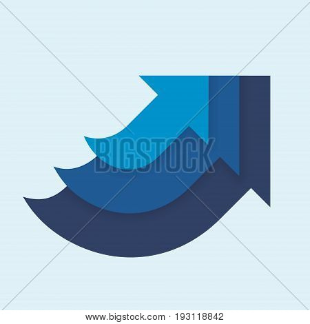 Three arrows form a large arrow, a vector illustration in shades of blue, a concept of unity of purpose, of general direction