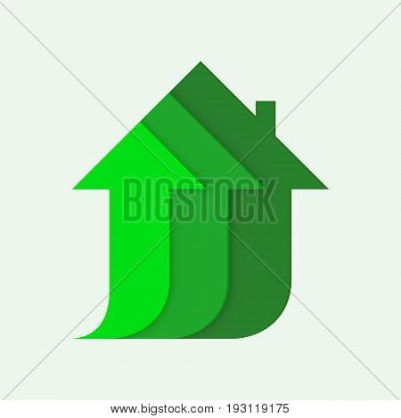 Arrows form the silhouette of a house, symbol of construction, growth of the housing market, vector illustration isolated on white background, green color, eco house