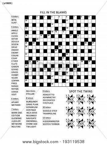 Puzzle page with two puzzles: 19x19 criss-cross word game (English language) and abstract visual puzzle. Black and white, A4 or letter sized. Answers are on separate file.