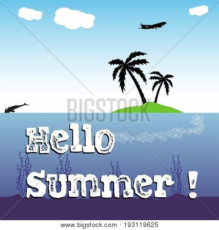Colorful background with a small island with two palm trees and the text hello summer written with white letters