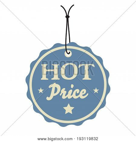 Isolated blue tag with the text hot price written on the tag