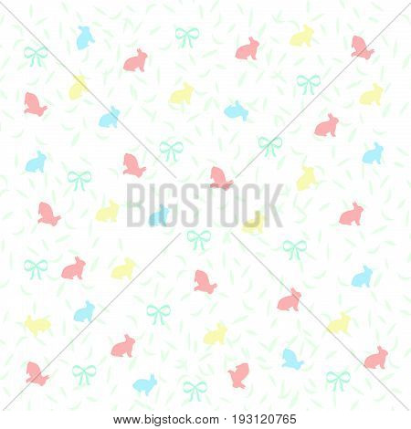 Easter pastel bunnies and bows on white background illustration