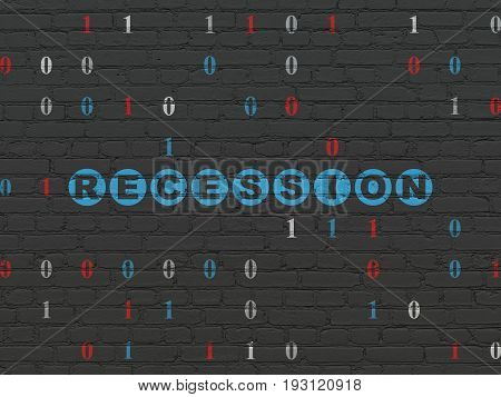 Finance concept: Painted blue text Recession on Black Brick wall background with Binary Code