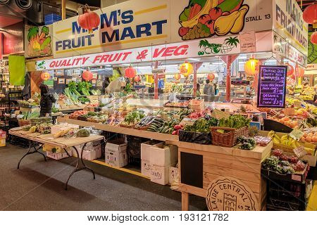 Adelaide Australia - November 12 2016: Vegetables on display at Adelaide Central Market on a weekend. It's a popular tourist attraction in the CBD area and the most visited place in South Australia.