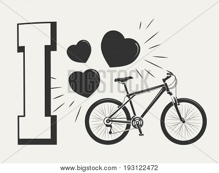 I love bicycle print design - print with bicycle and hearts. Print sport style bike, vector illustration