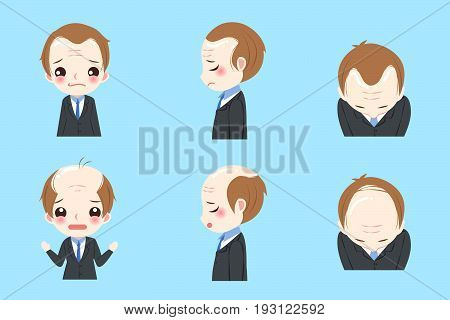 businessman with baldness problem on the blue background