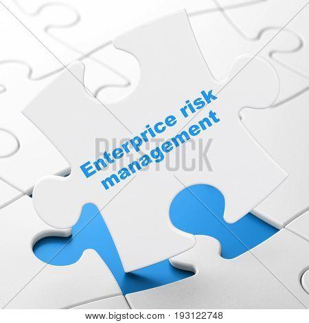 Business concept: Enterprice Risk Management on White puzzle pieces background, 3D rendering