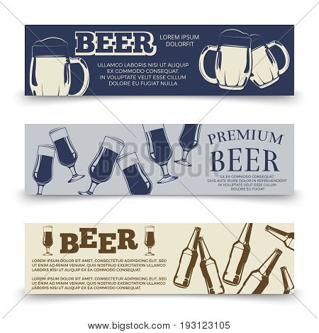 Drink horizontal banners template with beer mugs, glasses and bottles. Banner with beer beverage bottle illustration