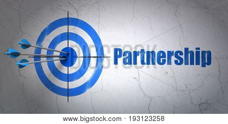 Success business concept: arrows hitting the center of target, Blue Partnership on wall background, 3D rendering