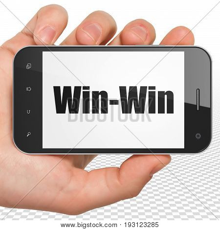 Finance concept: Hand Holding Smartphone with black text Win-Win on display, 3D rendering