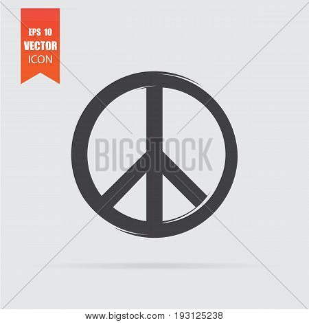 Peace Sign Icon In Flat Style Isolated On Grey Background.