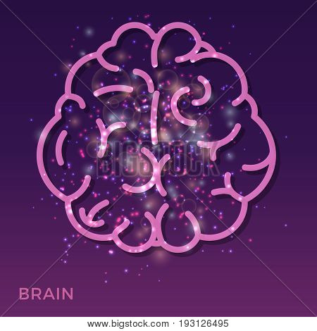 Abstract creative brain background - colorful brain icon with shining lights. Bright creative brain. Vector illustration