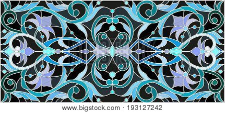 Illustration in stained glass style with abstract swirlsflowers and leaves on a black backgroundhorizontal orientation