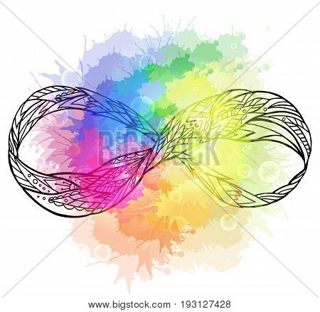 Black and white illustration of the sign of eternity with a boho pattern and rainbow watercolor spray. Doodle element for print on a T-shirt sketches of tattoo invitations and your creativity.