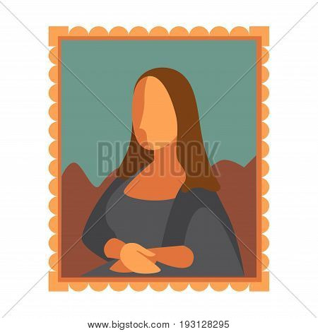 Vector illustration of simple Mona Lisa picture in frame isolated on white.