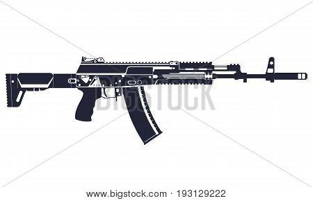 AK-12 automatic rifle. Complex silhouette. Vector illustration.