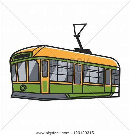Vector illustration of green and orange colored wagon of cableway isolated on white.