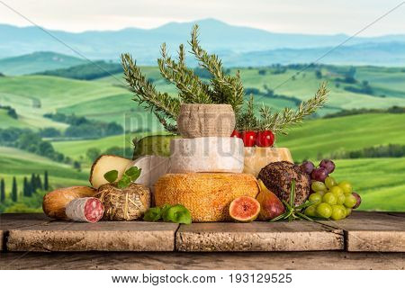 Various types of italian cheese, still-life.