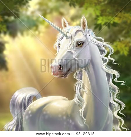 White unicorn in the forest, with a developing mane, close-up