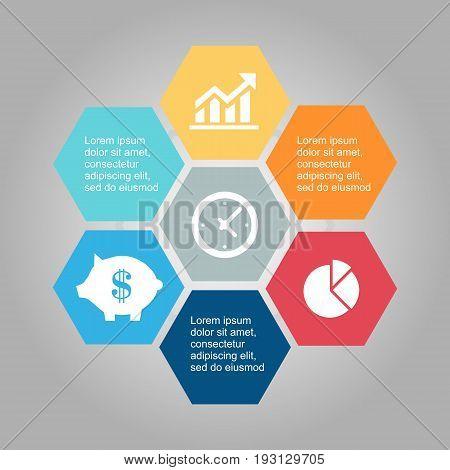 Vector illustration infographics seven hexagons. Stock vector