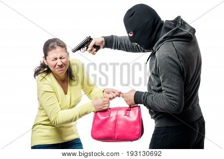 A Dangerous Armed Robber Steals A Bag From A Woman