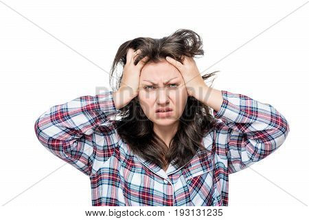 Discontented Disheveled Woman After Waking Up, Portrait On A White Background