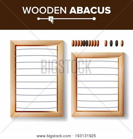 Abacus Blank. Vector Template Illustration Of Classic Wooden Abacus. Shop Arithmetic Tool Equipment. Isolated