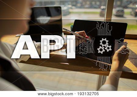 Application programming interface. API. Software development concept