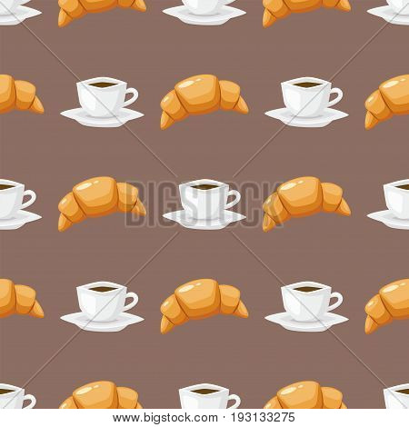 Coffee and croissant seamless pattern brown caffeine breakfast morning sweet drink vector illustration. Hot liquid bakery snack dessert background tasty energy food.